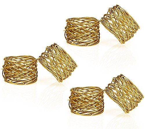 ITOS365 Handmade Gold Round Mesh Napkin Rings Set of 6 Holder for Dinning Table Parties Everyday((Dia-2 Inch, Pack of 6, Gold))