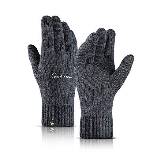Gestrickte Handschuhe,Einfache Herbst Und Winter Männer Handschuhe Aus Gewirken Outdoor Doppel Verdickung Plus Samt Warme,Winddichte Touchscreen Marine Blau Handschuhe