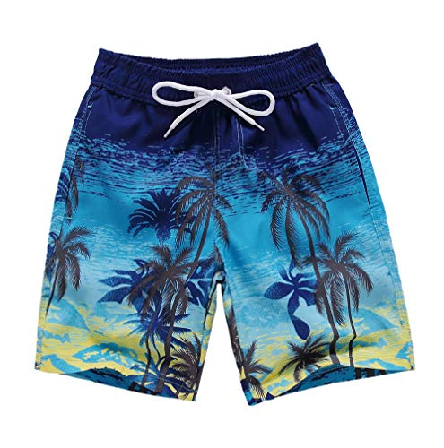 Coralup - Pantalones cortos de playa para niños, cintura ajustable, secado rápido, transpirable, ligero, para surf, adolescentes y adultos de 2 a 18 años Árbol de coco 13-14 Años
