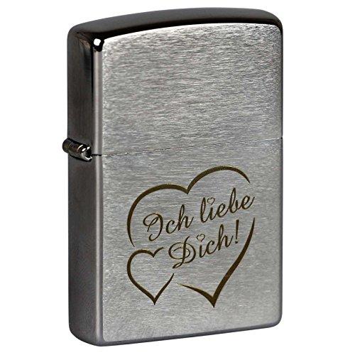 Preisvergleich Produktbild Zippo Original Feuerzeug mit Lasergravur Ich Liebe Dich + Herzen Gravur Brushed Chrome Benzinfeuerzeug