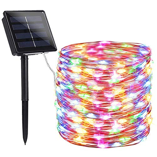 Luces solares al Aire Libre, Luces Cadena Alambre Cobre Solar, 33 pies 100 LED Luces Hadas solares Cobre, con 2 Modos Luces Hadas estrelladas Patio, Fiestas, Patio