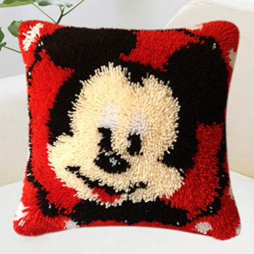 ZHXQ Latch Hook Kit Cushion Cover DIY Craft Needlework Crocheting Cushion Embroidery,Cojín Tejido para niños y Adultos para anudar uno Mismo,para Decoración de Habitación de Hogar Comedor 40 * 40cm