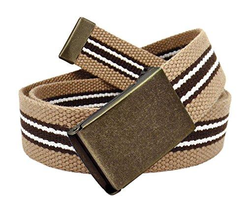 Boy's School Uniform Distressed Gold Flip Top Buckle with Canvas Web Belt Small Khaki Brown White Stripe