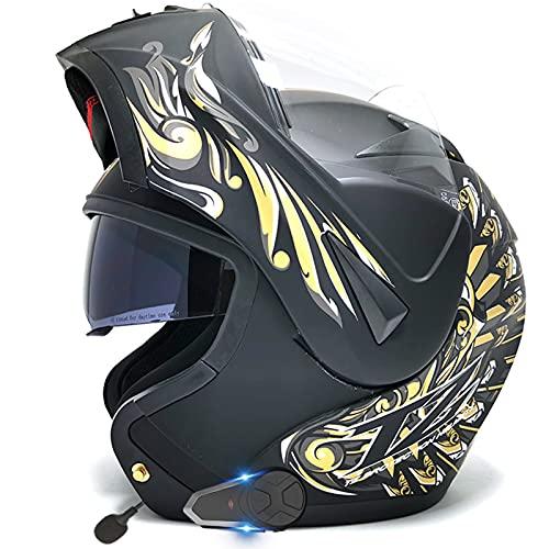 Casco de motocicleta integrado con Bluetooth, cara completa, viseras dobles cascos modulares de motocross, aprobado ECE hombres adultos mujer FM Bluetooth walkie talkie,4,L 59~60cm