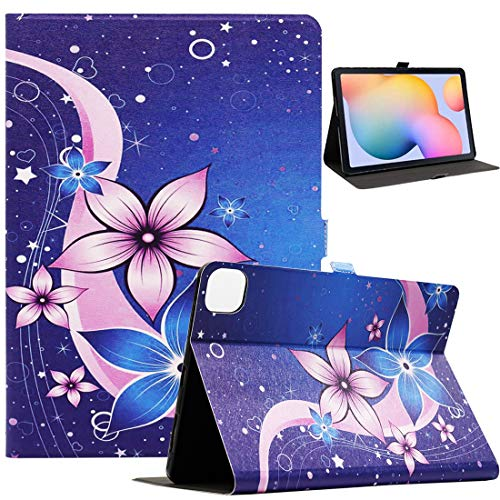 New iPad Air 4 Case (10.9-inch, 2020), iPad Air 4th Generation Case, Bbjjkkz Ultra Slim PU Leather Folio Smart Stand Case for iPad Air 4th Generation 10.9 Inch 2020, Blue Flower