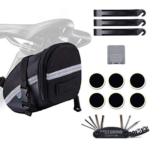 Neutral 16 in 1 Attrezzo Multifunzione da Bici con Kit di Patch e Leve del Pneumatico,Adatto a biciclette, mountain bike, Borsa da sella per bicicletta Impermeabile auto da corsa