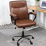 Leder Bürostuhl Braun Schreibtischstuhl mit gepolsterter Armlehne Ergonomisch Chefsessel Arbeitsstuhl mit mittlerer Rückenlehne, Höhenverstellbar PC Gaming Drehstuhl