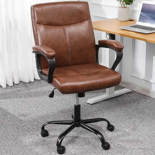 Bürostuhl Leder Braun Schreibtischstuhl mit gepolsterter Armlehne Ergonomisch Chefsessel Arbeitsstuhl mit mittlerer Rückenlehne, Höhenverstellbar PC Gaming Drehstuhl
