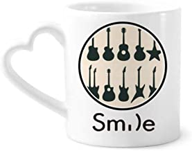 cold master DIY lab Electric Guitar Music Vitality Sounds Smile Pattern Mug Cup Pottery Heart Handle