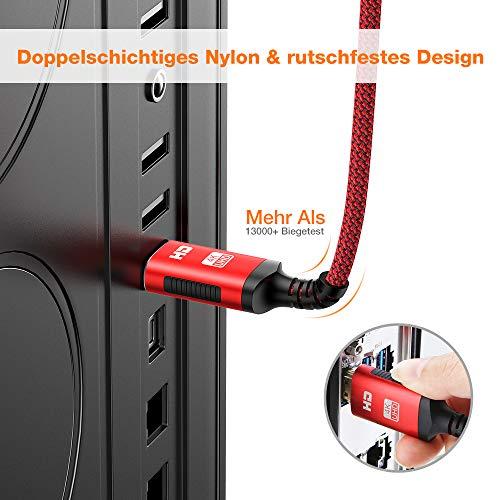 HDMI Kabel 4K 60hz | 2m – Snowkids 4K@60HZ HDMI 2.0 des Rutschfesten Kabel Aktualisierte Version mit 18Gbps HDCP 2.2, 3D UHD Ethernet ARC-kompatiblem HDTV, PS4, Projektor – Rot - 4