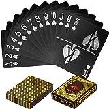Maxstore Cartes de Poker en Plastique Design 100% imperméable Couleurs Noires et dorées Deck de Poker Jeux de Table en Plastique