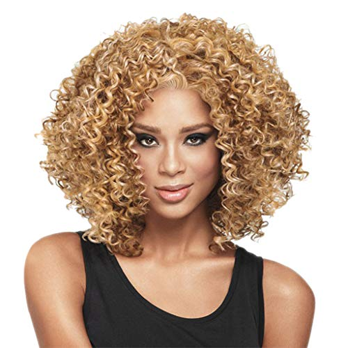 Perücke Wig Damen Blond Afro Lockige Langhaar Curly Hair Wavy Synthetic Brazilian Cosplay Anime Human 80Er