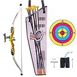 Morginy Arco y Flecha para Niños, Tiro con Arco de Juguete Arco y Flechas Set con 1 Arco, 6 Flechas, 1 Objetivo, 1 Dedil y 1 Carcaj