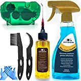 Ultrafashs Bike Chain Oil Lubricant and Cleaner Set with Bicycle Degrease,Wet Lubricant,Chain Scrubber Cleaning Brush Tool.Bike Lube-2oz,Degreaser-17oz.