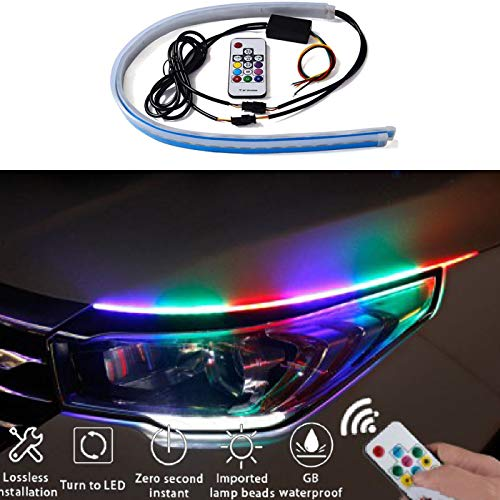 2Pcs Car LED Headlight Strip- 7 Colors & 50 Light Modes With Remote Control- Waterproof, No Drilling, Easy to Install- for Car Switchback Light, Headlight and Turn Signal Tube Lights