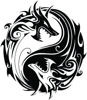 JS Artworks Yin yang Dragon Vinyl Decal Sticker (Black)