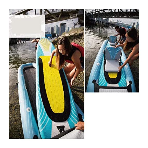 JNWEIYU Double Thickened Kayak, Two-in-one Inflatable Boat, High-Pressure Inflatable Seat, Non-Slip Deck, Elastic… 6 Sturdy two man kayak, ideal for lakes, fishing and sea shores; broad shape combines stability and comfort when out on the water Two person canoe comes with Boston valves for easy inflation and fast deflation; manometer for pressure control included The compact Canadian canoe comes with a durable polyester hull, two PVC side chambers and an ultra-durable tarpaulin shell for high stability and safety on the water