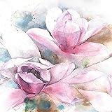 ForWall Fototapete Vlies - Wanddekoration Wandtapete - Blumen Aquarellfarbe Rosa Lilie Magnolie VEXXL (312cm. x 219cm.) AMF13008VEXXL Wandtapete Design Tapete