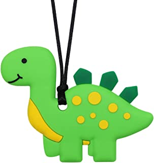 Chew Necklace for Boys and Girls - Dinosaur Chewable Silicone Pendant for Teething, Autism, Biting, ADHD, SPD, Sensory Oral Motor Aids for Kids, Chewy Toy Jewelry for Adults (Green)