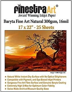 17x22 Fine Art Fibre Baryta Natural Inkjet Paper 300gsm 25 Sheets