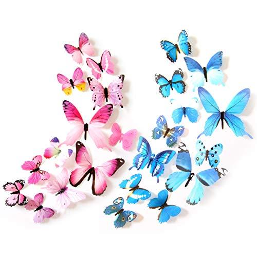Pegatinas de pared 3D con mariposa, 24 unidades de varios tamaños de simulación de mariposas (rosa, azul)