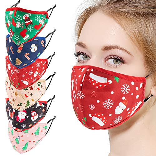 6 Pack Christmas Cotton Face Covering- Breathable Xmas Themed Mouth Guard in 6 Styles Washable Mouth Face Shield with Adjustable Ear Loops Cloth Facial Protection for Men Women Teens Xmas Presents