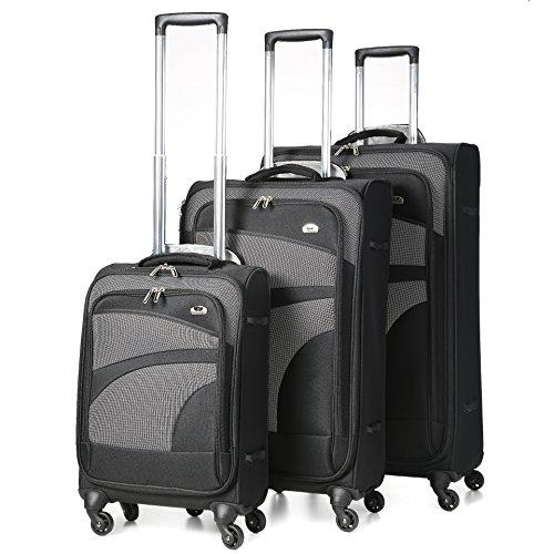 Aerolite Leichter 4 Rollen Trolley Koffer Kofferset Gepäck-Set Reisekoffer Rollkoffer Gepäck, 3 teilig, Schwarz/Grau