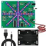 Seamuing DIY Blinklicht LED-Kit Rote und Blaue Wasserlampe Löten Übungsplatine PCB für Kinder Anfänger Lernen mit Netzkabel und Batteriekasten