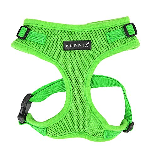 Authentic Puppia RiteFit Harness with Adjustable Neck, Green, Medium