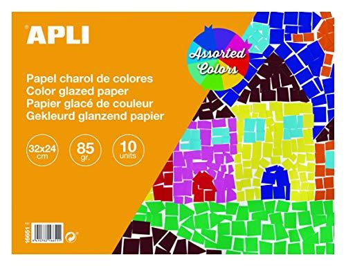APLI 16651 - Bloc papel charol surtido 32 x 24 cm 10 hojas ✅