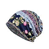 Women's Vintage Floral Beanie Lightweight Breathable Skull Cap Slouchy Thin Beanie Baggy Hat for Daily Wear Blue