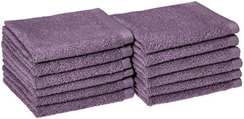 Amazon Basics Quick-Dry, Luxurious, Soft, 100% Cotton Towels, Lavender - Set of 12 Washcloths