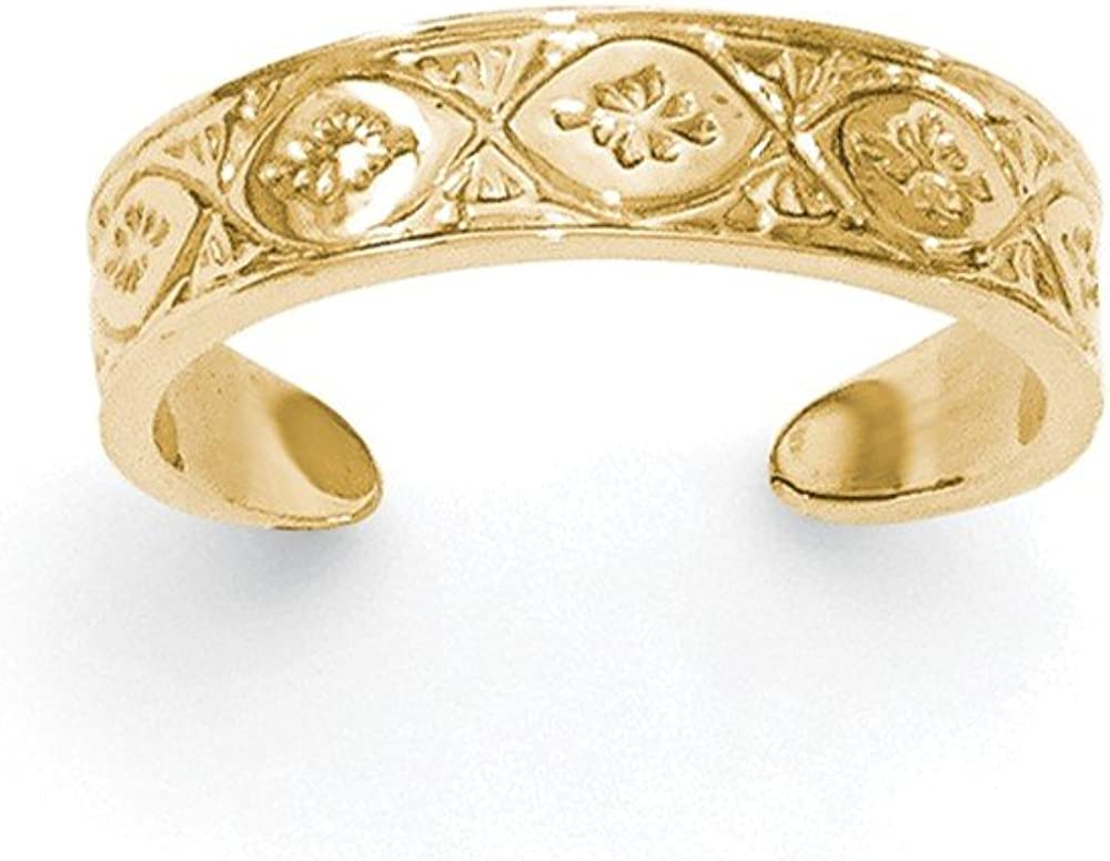 14K Gold Polished Wave with Flower Center Toe Ring