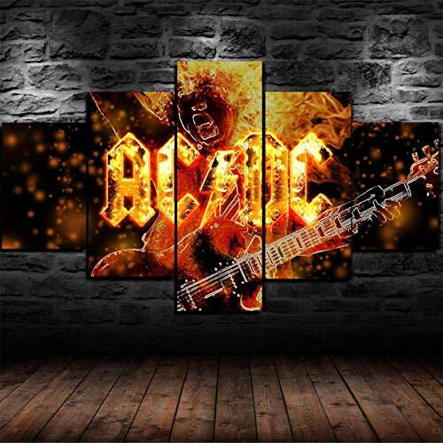 6Lv5Panel Leinwanddrucke Geburtstagsgeschenk-Angus Young Ac Dc ACDC Rockband Leinwanddruck Wandkunst Wohnkultur 5 Stück-200 * 100Cm-Rahmen