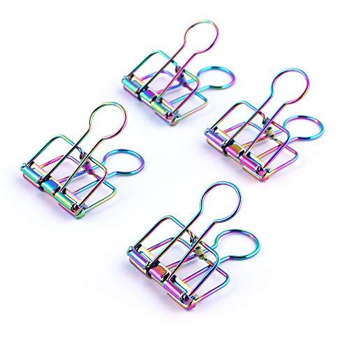 Eagle - Clips para encuadernación, clips de alambre, clips de papel huecos, colores del arco iris, para archivos, documentos, entradas, suministros de oficina y escuela, paquete de 8 (huecos)