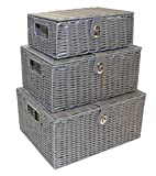 Home-ever Set of 3 Resin Woven <span class='highlight'>Storage</span> Basket Box With Lid (<span class='highlight'>Grey</span>)
