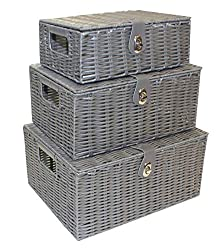 Set of 3 storage baskets with metal frame and hand woven resin With Lid & Leather Look strap Lock and insert handles nesting for convenient storage Ideal for storing anything in any room or bathroom toiletries Size : Large : W36cm X D28cm X H18.5cm, ...