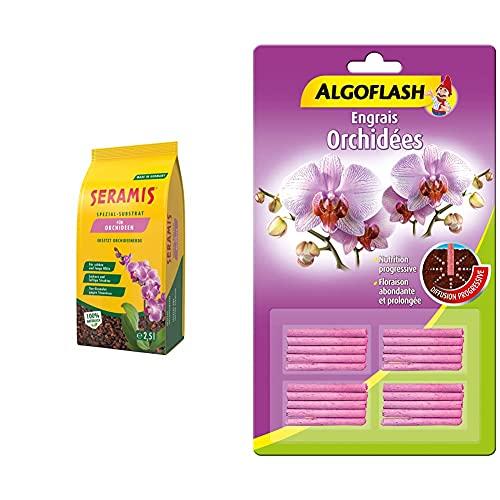 Seramis 4008429043246 Substrat spécial pour orchidées 2,5 l & ALGOFLASH Engrais bâtonnets Orchidées, Action jusqu'à 3 mois, 20 bâtonnets, ABATORC