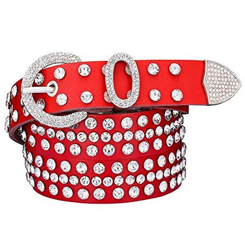 YWSZY Cinturones De Diamantes De Imitación Cuero For Las Mujeres Brillantes Ancho Anillo De Plata Pin Hebilla del Cinturón De Los Pantalones Vaqueros Femeninos De La Correa De 2,8 Cm