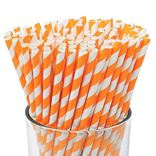 Just Artifacts Premium Biodegradable Disposable Drinking Striped Paper Straws (100pcs, Orange)