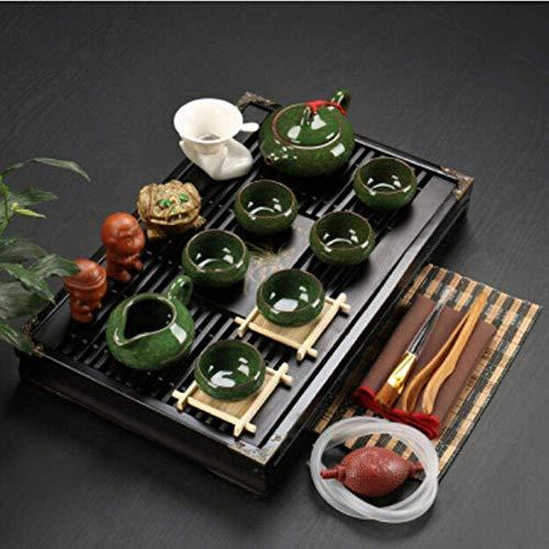 Juego de té de Arcilla púrpura de cerámica Kung Fu Infusor Bandeja de té de Madera Maciza Tetera Tazas de té Vajilla China Gaiwan, s4
