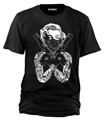 Sputnik-Shirts - Camiseta Monroe Gangster (tallas de la S a la 5 XL) Negro XL