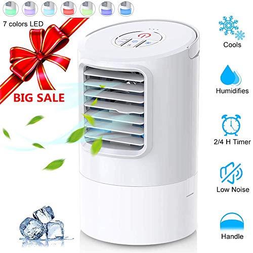 Climatiseur Portable, Refroidisseur d'air 4 en 1 Ventilateur de Climatisation Silencieux Mobile Mini Personnel Air Refroidisseur Humidificateur 3 Vitesses - 2/4h Timer Rapide à Utiliser - 7...