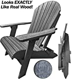 DURAWEATHER POLY Classic King Size Folding Adirondack Chair (Driftwood Grey)