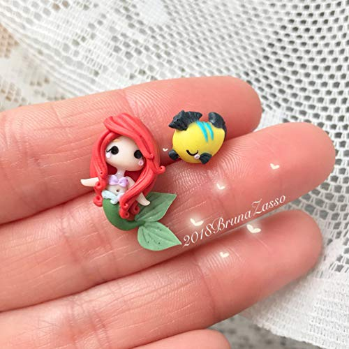 Ariel Orecchini Lobo Perno ~ Sirenetta Flounder Cute Disney Earrings Fimo Polymer Clay Kawaii tiny Princess Principessa Fiori Bambina Regalo Handmade Love Sirena Mare
