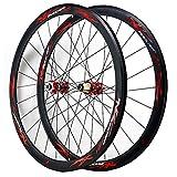 ZCXBHD 700c Anteriore & Posteriore Ruota Bici da Corsa 40mm 7/8/9/10/11/12 velocità Set di Ruote Freno A Disco C/V Freno Doppio Muro Perno Passante (Color : Red)