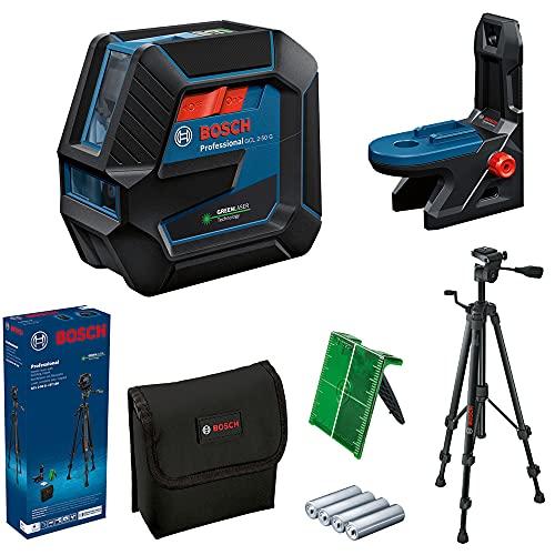 Bosch Professional Nivel Láser GCL 2-50 G (láser verde, soporte RM 10, trípode BT 150, alcance: hasta 15m, 4x pilas AA, en caja)