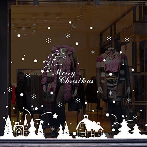PIN Das Restaurant Mall Fensterglas Sticker Christmas Company Neujahr ist ansprechend eingerichtet und dekoriert Weihnachtsposter Snowworld, 67 * 161Cm, 1,67 * 161Cm