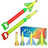 HONPHIER Rocket Launcher for Kids Plane Toys Foam Flying Plane 3 in 1 Aircraft Toys Water Pistol Set Pump Water Gun Blaster Shooter Soaker Outdoor Activity Games Toys