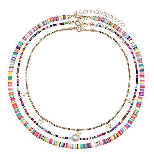 Surfer Heishi Bead Choker Necklace For Woman Star Pearl Polymer Clay Record Disc Beads Layered Necklace Boho Beach Necklace jewelry (rainbow)